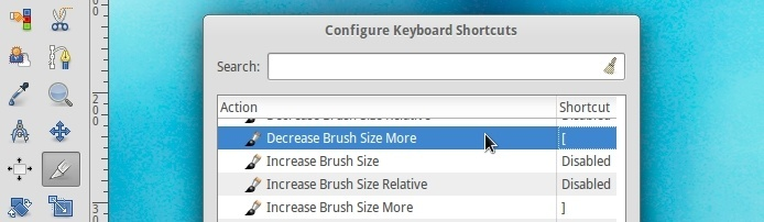 gimp brush size not working